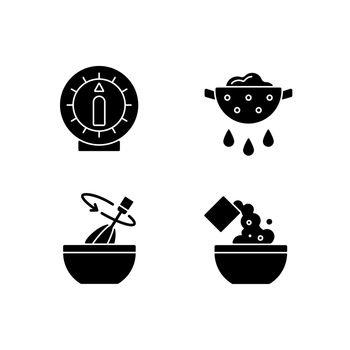 Food preparation black glyph icons set on white space