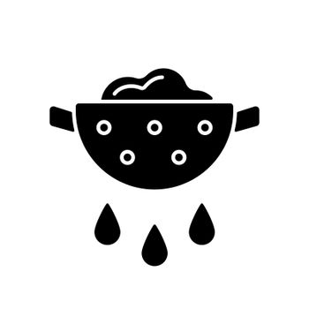 Drain food black glyph icon