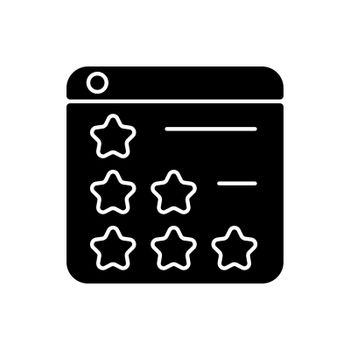 Consumer review networks black glyph icon