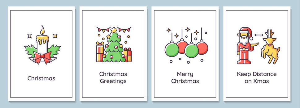 Christmas celebration greeting cards with color icon element set
