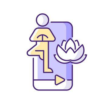 Online yoga tutorial RGB color icon.