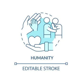 Humanity against people suffering concept icon.