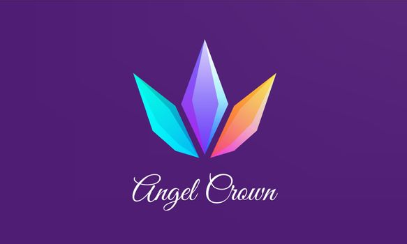 Crystal Crowns are diamond shaped and elegantly colorful logo design