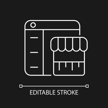 Online marketplace white linear icon for dark theme