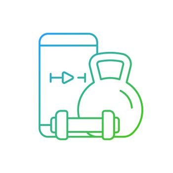 Online weightlifting exercises training gradient linear vector icon.
