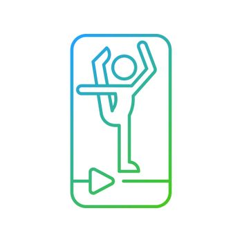 Online fitness stretching gradient linear vector icon.