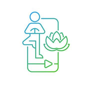 Online yoga tutorial gradient linear vector icon.