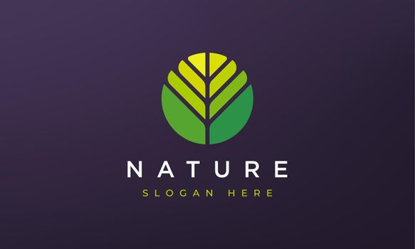 abstract circle leaf geometry logo concept in simple dan modern shape