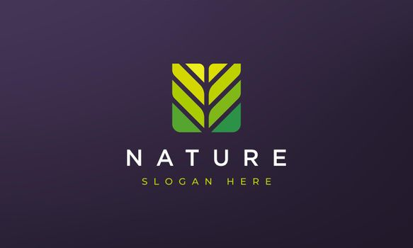 abstract square leaf geometry logo concept in simple dan modern shape