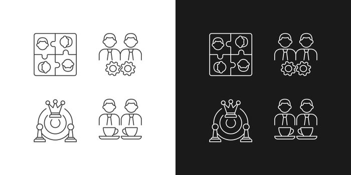 Office members interaction linear icons set for dark and light mode