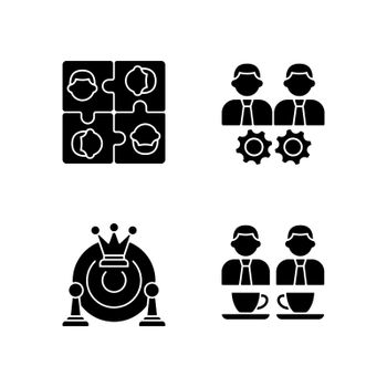 Office members interaction black glyph icons set on white space