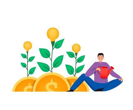 Money Plants Flat Composition