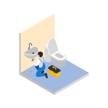 Bathroom Renovation Isometric Composition