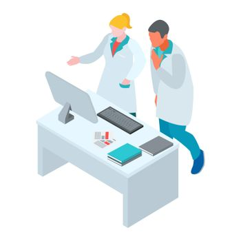 Laboratory Scientists Isometric Composition