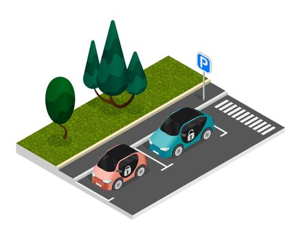 Isometric Colored Parking Composition
