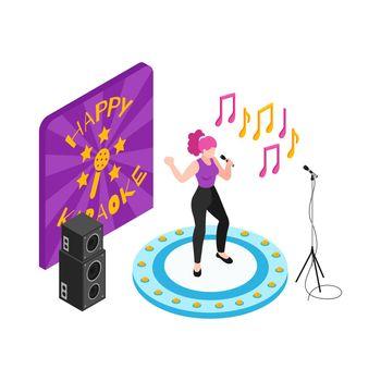 Karaoke Isometric Illustration