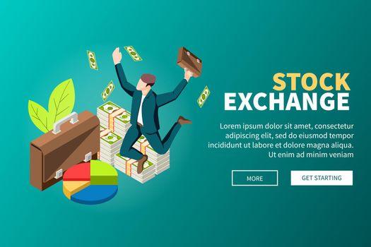 Stock Exchange Isometric Web Banner