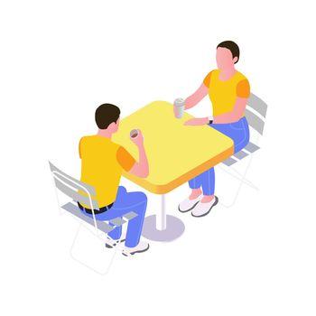 Cafe Table Isometric Illustration