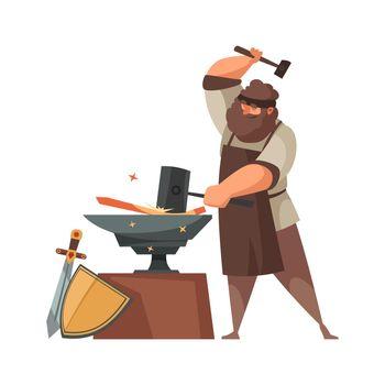 Medieval Blacksmith Cartoon Illustration
