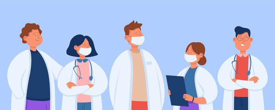 Cartoon professional hospital team of doctors