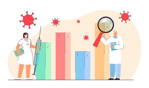 Doctors studying statistics of coronavirus