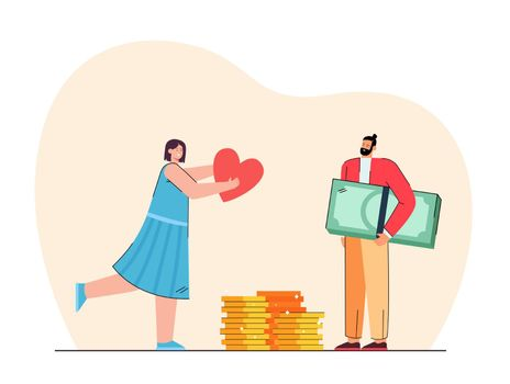 Girl giving love to rich man