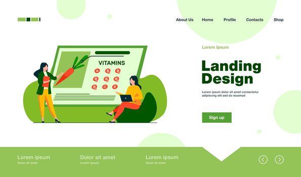 Women studying vitamins in organic food