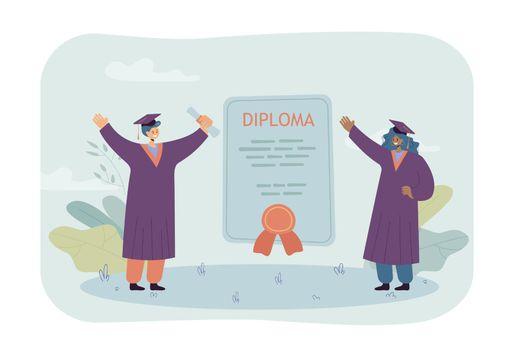 Happy graduates with huge diploma