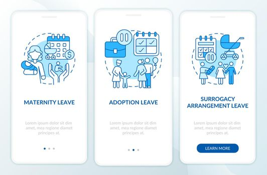 Maternity leave types blue onboarding mobile app page screen