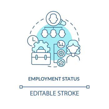 Employment status blue concept icon
