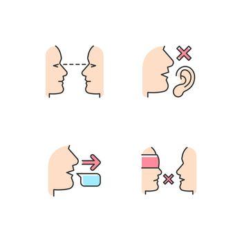 Improve everyday communication RGB color icons set