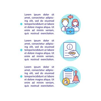 Inform your employer in writing concept line icons with text