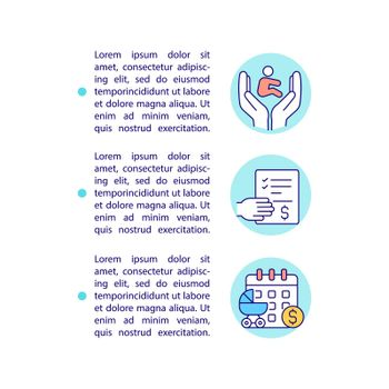 Apply for maternity benefit concept line icons with text