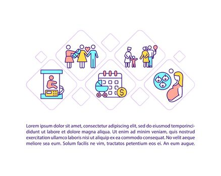 Maternity leave types concept line icons with text