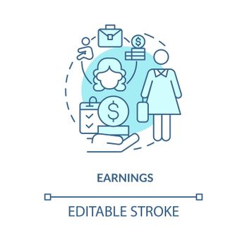 Earnings blue concept icon