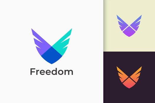 Wing logo represents freedom and power for plane or technology company