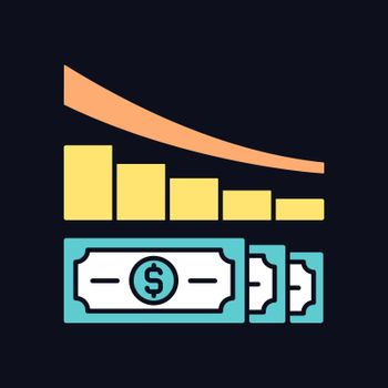 Expense reduction RGB color icon for dark theme