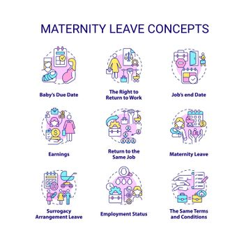 Maternity leave related concept icons set