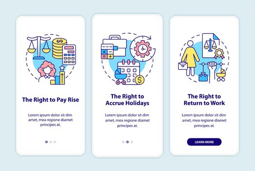 Maternity leave employee rights onboarding mobile app page screen