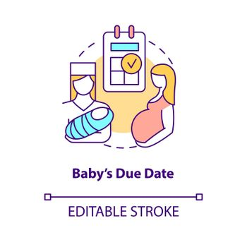 Baby due date concept icon