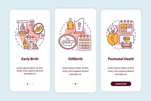 Maternity leave entitlement cases onboarding mobile app page screen