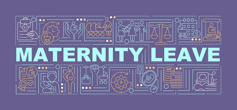 Maternity leave purple word concepts banner