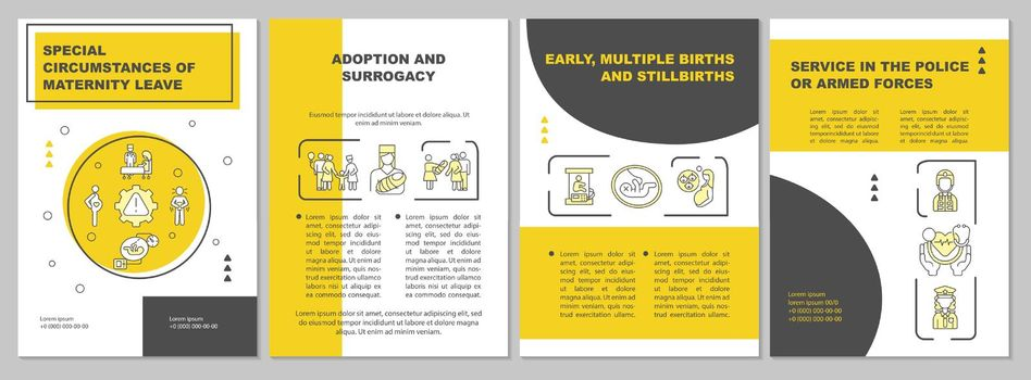 Special circumstances of maternity leave yellow brochure template