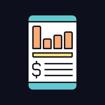 Expense tracker app RGB color icon for dark theme