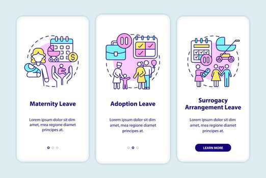 Maternity leave types onboarding mobile app page screen