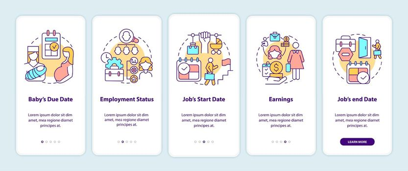 Calculating maternity pay requirements onboarding mobile app page screen