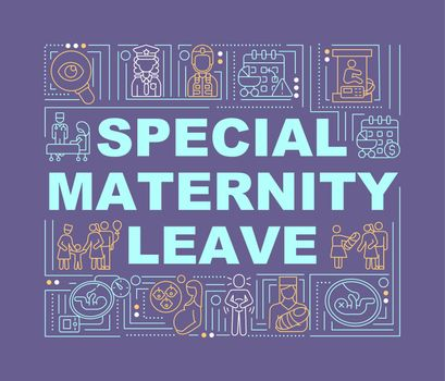 Special maternity leave purple word concepts banner
