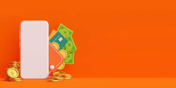 Money wallet on mobile application, money payment and transfer online, 3d illustration