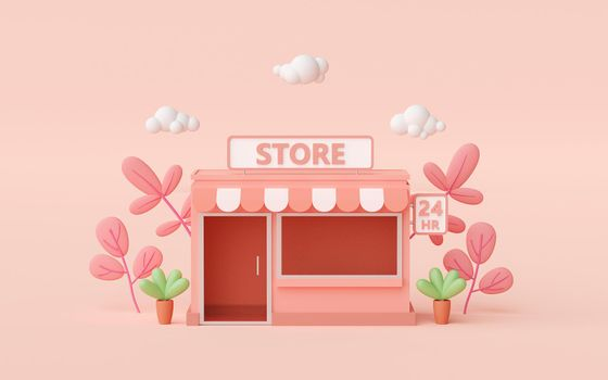 Minimal convenience store building with pink background, 3d illustration