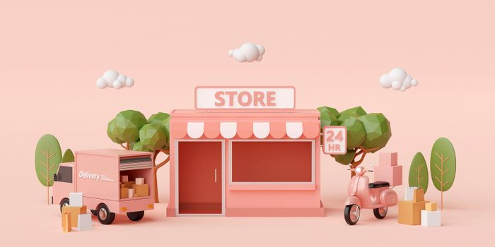 E-commerce concept, Convenience store and delivery service by scooter and truck, 3d illustration